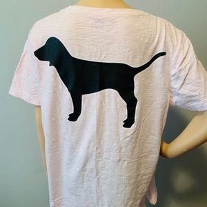 VS PINK Pink Black Dog Logo Pocket Campus Tshirt M
